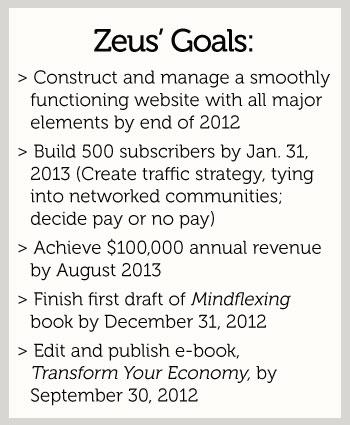Zeus' 6-month goals